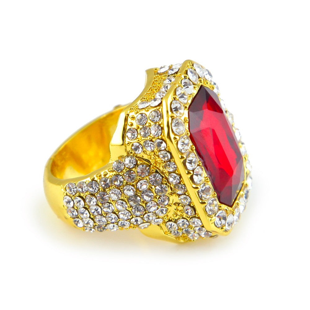 14k Iced Red Ruby Ring