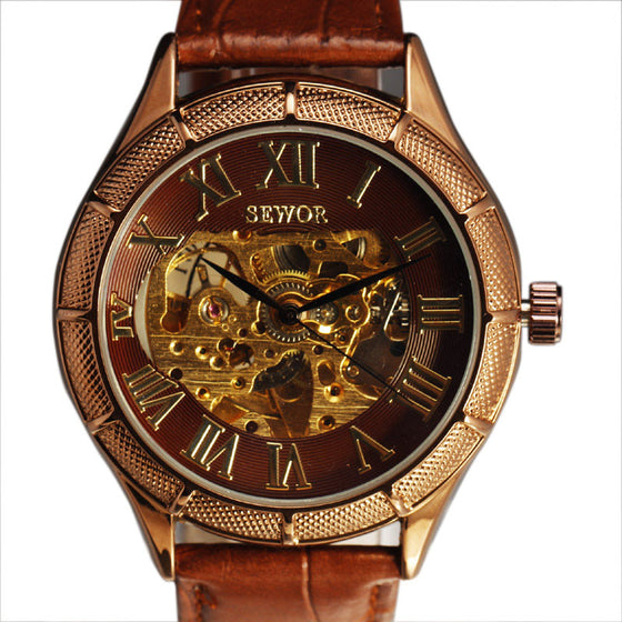 Retro Skeleton Dial Leather Watch