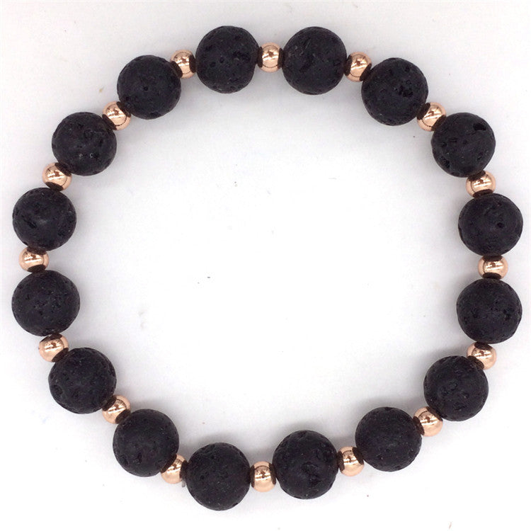 Black Lava Stone & Copper Beads Strand Bracelets