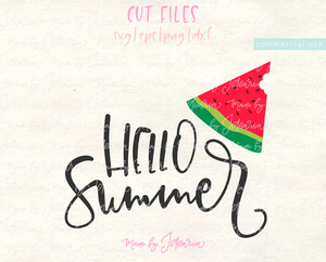 Hello Summer Watermelon Svg