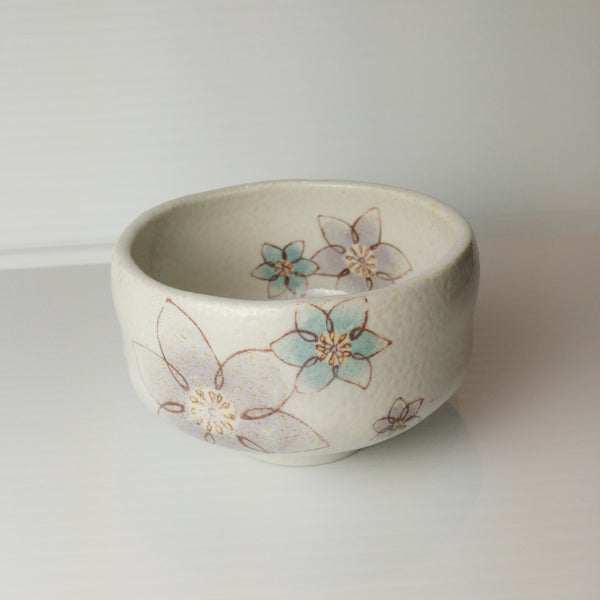 Japanese Tea Cup - Purple & Blue Flowers