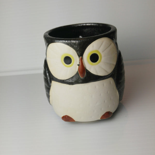 Owl Mug with Handle - Midnight Black