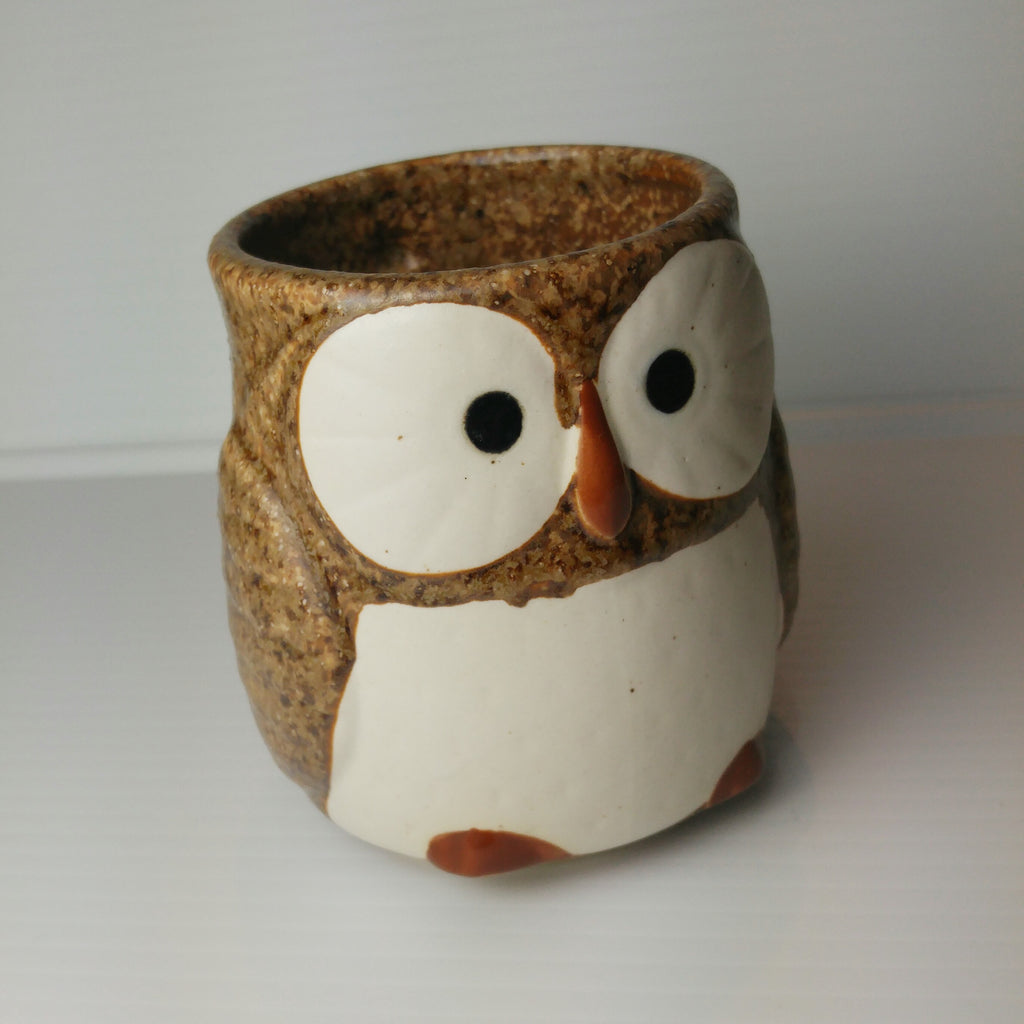 Owl Mug with Handle - Sandstorm