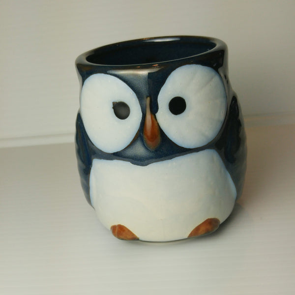 Owl Mug with Handle - Blue Shine