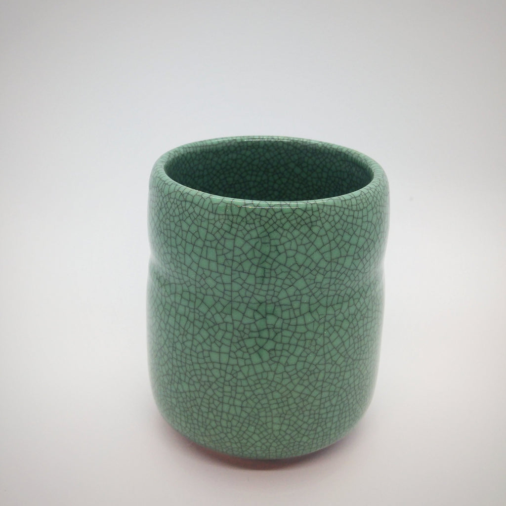 Japanese Tea Cup - Green Crackle