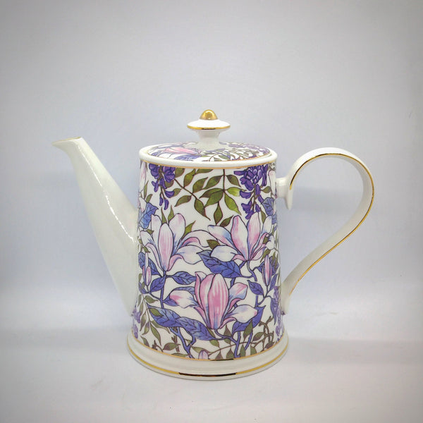 Ceramic Teapot - Purple Flower with Gold