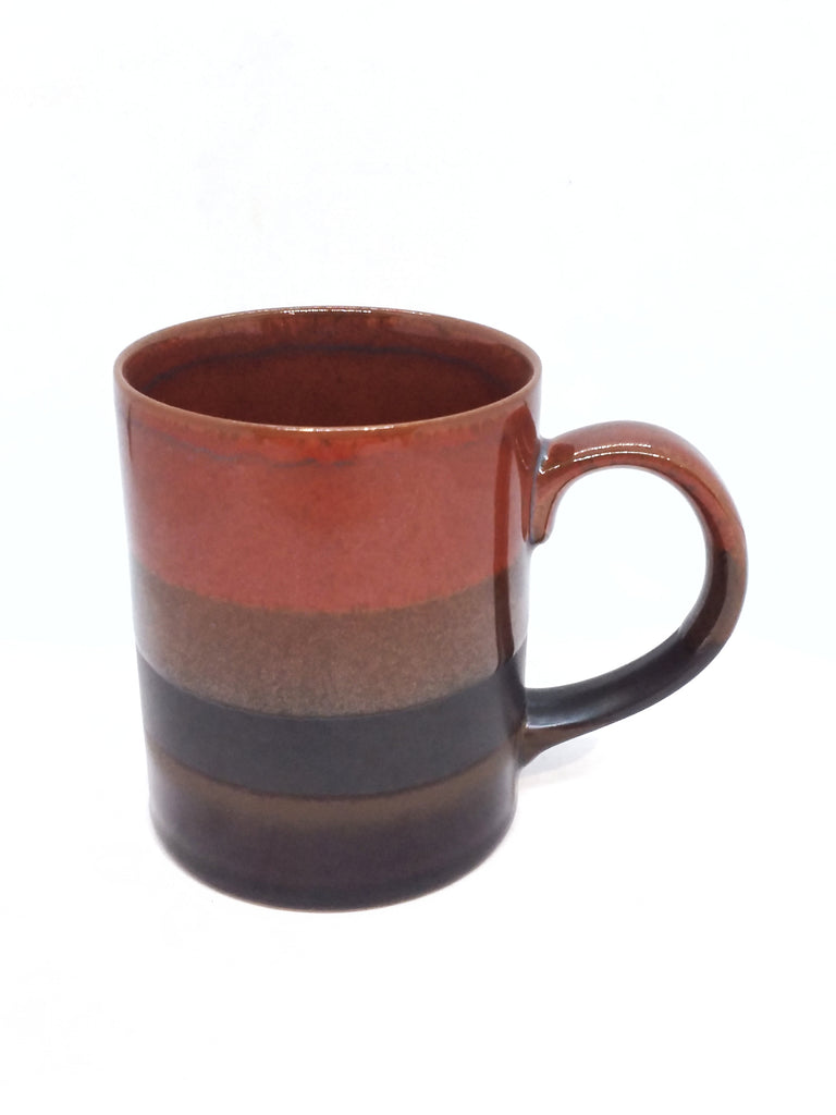 Japanese mug- Handle Brown Stripe