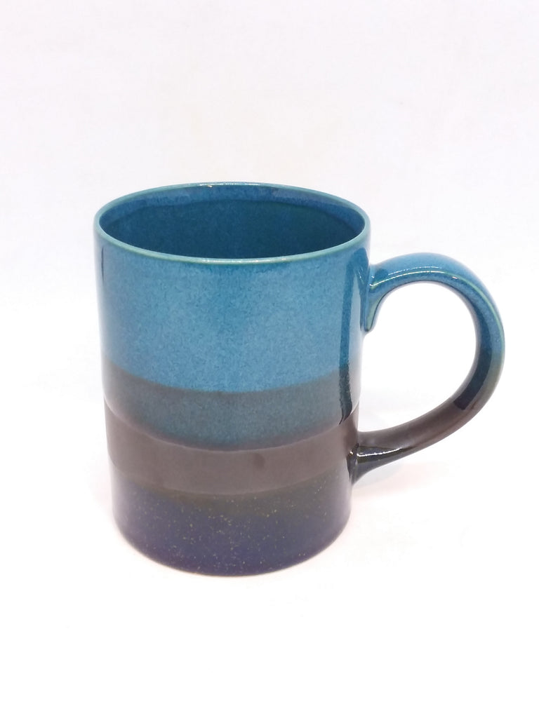 Japanese mug- Handle Dark Teal Stripe