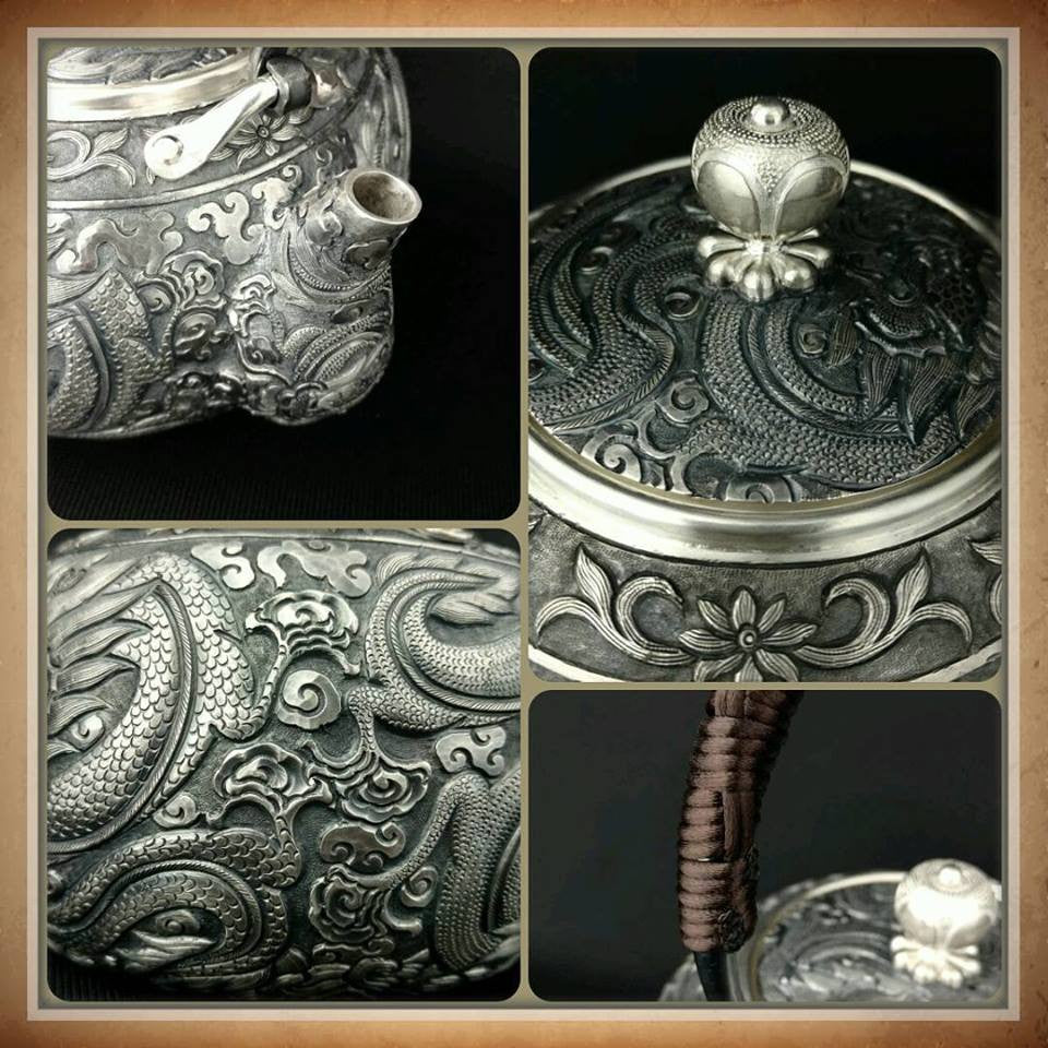 Kettle 990 grade Silver - Master Craftsman Made - 830g- Dragon