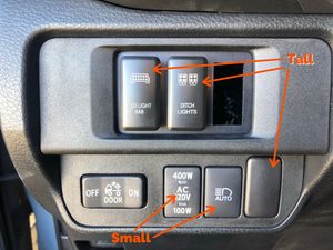 "Installed comparison showing short vs tall switches - Cali Raised LEDToyota OEM Style ""BACKUP LIGHTS"" Switch"