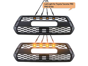 Toyota Tacoma TRD Pro Grille with 4 LEDs - top shows illuminated, bottom is off - Cali Raised LED