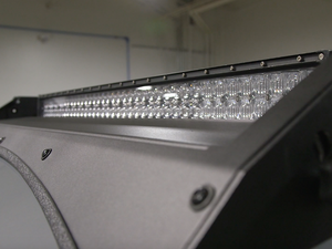 Close up of exposed LED light bar on Premium roof rack - Cali Raised LED