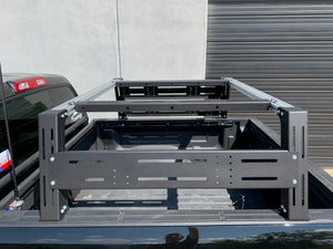 Close-up drivers side view of Overland bed rack - Cali Raised LED