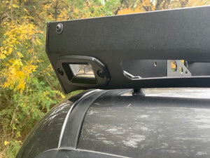 Close up rear view of gray Toyota Tacoma with Premium roof rack - Cali Raised LED