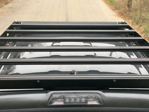 Top down rear view of gray Toyota Tacoma with Premium roof rack - Cali Raised LED