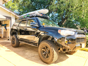 Front passenger side - Trail Edition Bolt On Rock Sliders on black 4Runner - Cali Raised LED