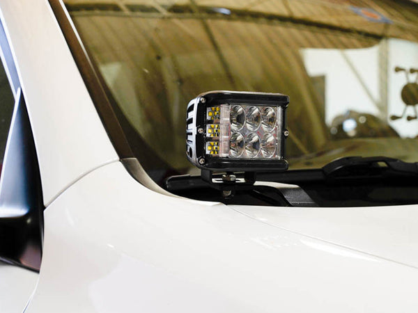 2010-2020 Lexus GX 460 Low Profile LED Side Projecting Ditch Light Mounted to White Vehicle - Cali Raised LED