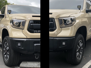 Up-close of Tan Toyota Tundra LED Fog Light Pods/Brackets Installed - Cali Raised LED