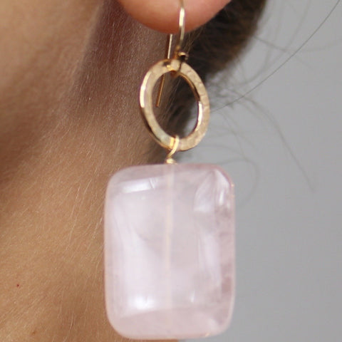Rose Quartz Earrings Small Drop – Camel Pose