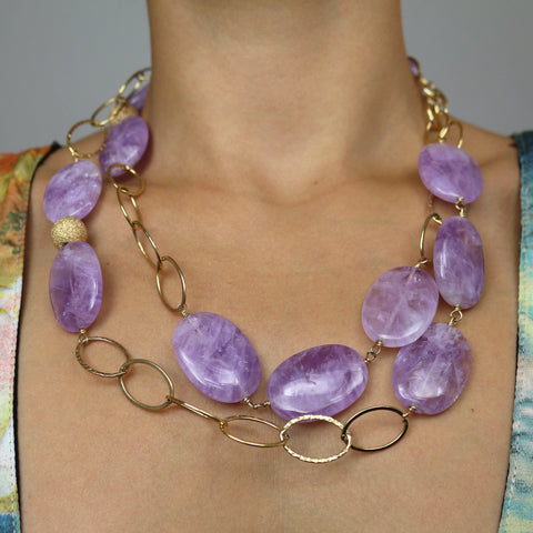 Amethyst and Gold Ring Necklace Large – Standing Separate Leg Head to Knee Pose