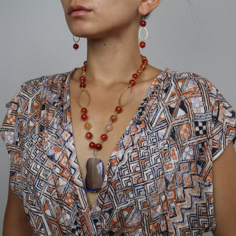 Carnelian Necklace Large Beads w/Agate Drop – Eagle Pose