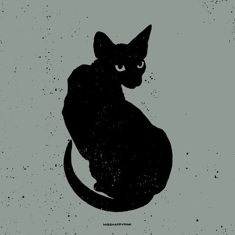 Bats Cats Bones: Black Cat Print