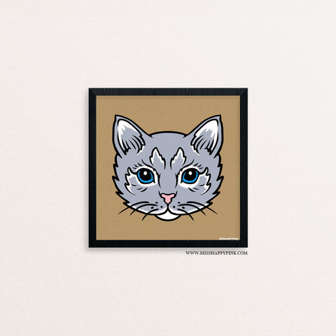 Gray Kitty Print