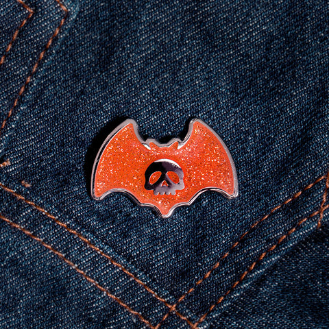 Bat Skull Pin: Orange