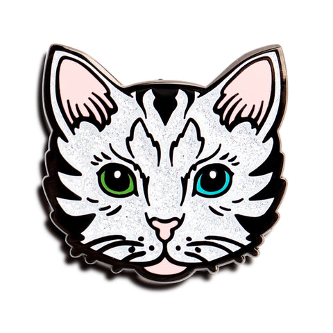 White Glitter Kitty Pin