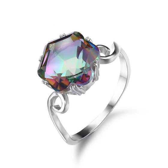 3.2ct Rainbow Colored Mystic Topaz Ring - Brilliant Virtue