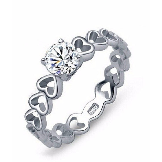 Solitaire 4 Prong Hollow Heart Setting Ring - Brilliant Virtue
