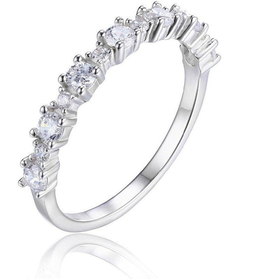 Sterling Silver Cubic Zirconia Band Ring - Brilliant Virtue