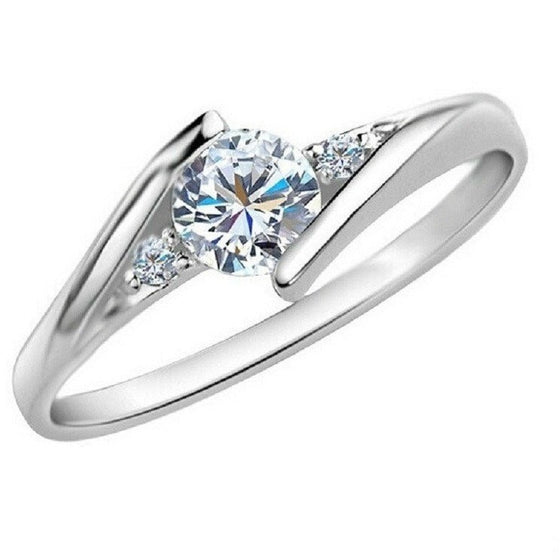 Solitaire Platinum Plated Charm Ring - Brilliant Virtue
