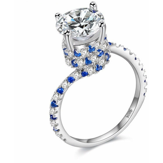 Clustered Blue Crystal Engagement Ring - Brilliant Virtue
