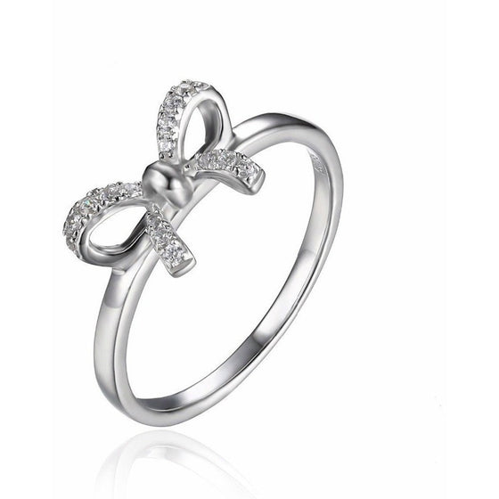 Premium Bow Ring With Crystal Diamonds - Brilliant Virtue