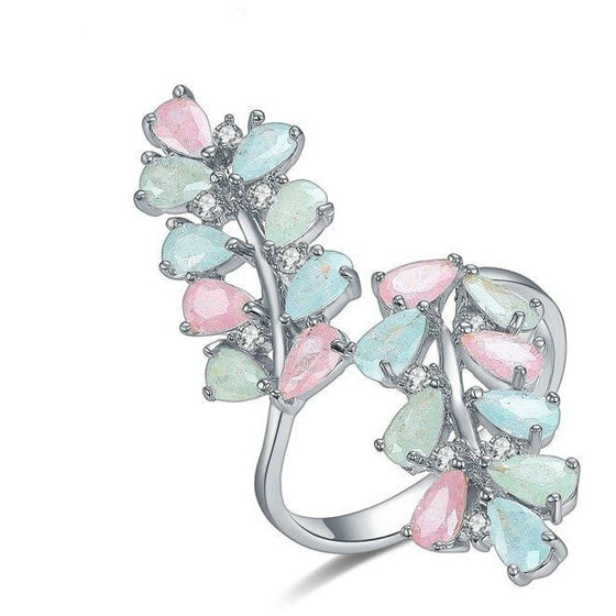Colorful Gemstone leaf Ring - Brilliant Virtue