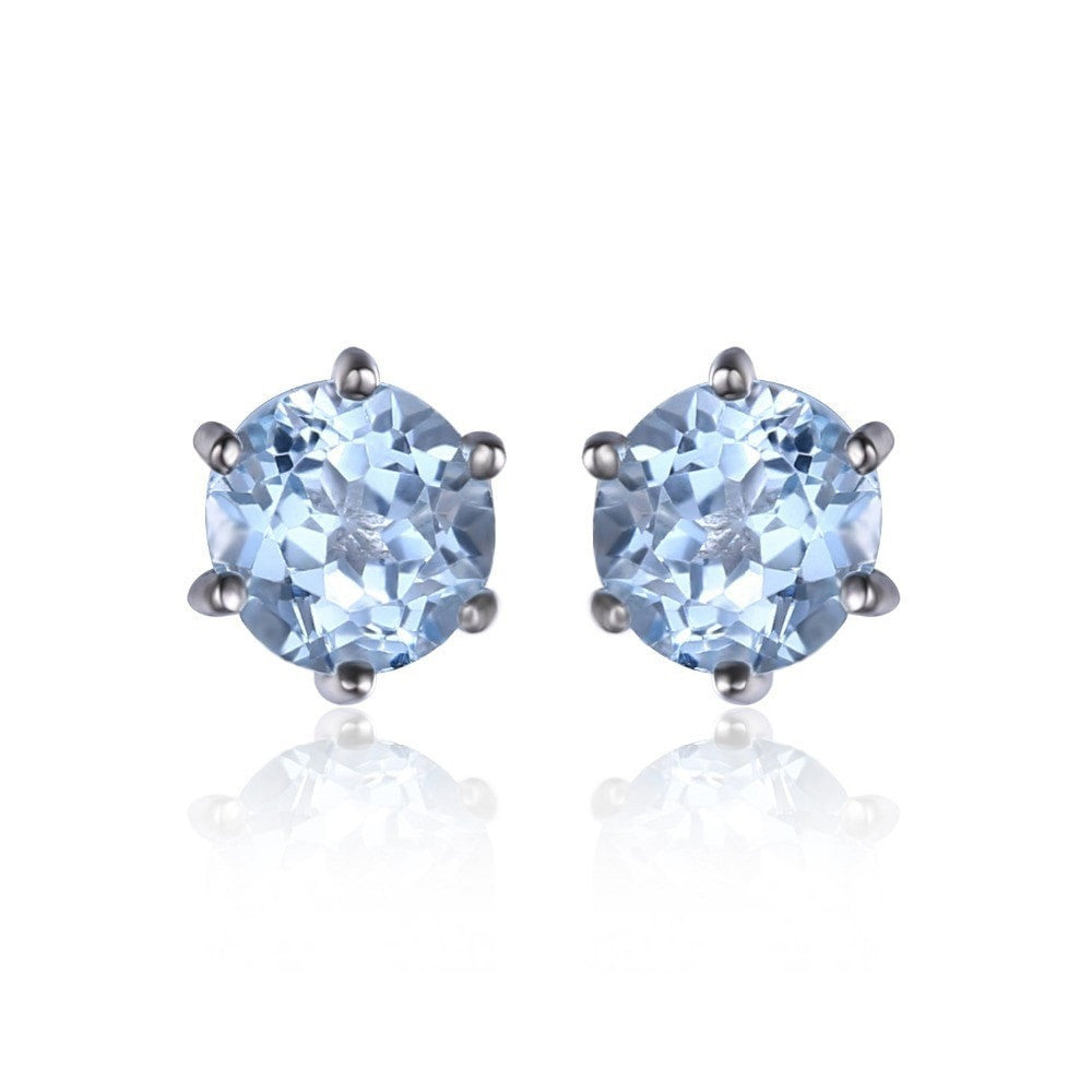 earrings blue gold ctw infinity qp stone in topaz stud white