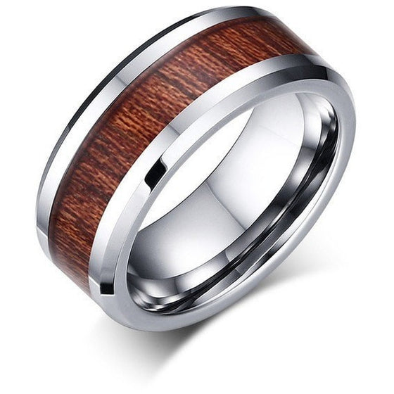 Retro Wood Grain Wedding Ring For Men - Brilliant Virtue