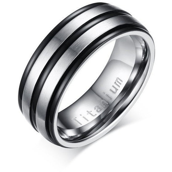 Three Strips Titanium Ring - Brilliant Virtue