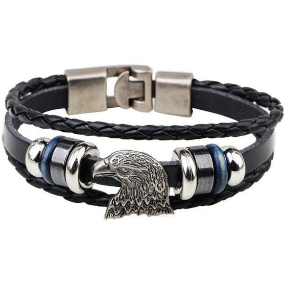 Majestic Eagle Head Genuine Leather Bracelet - Brilliant Virtue