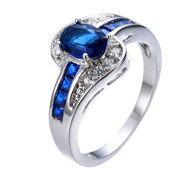 Smooth and Suave Blue Oval Ring - Brilliant Virtue
