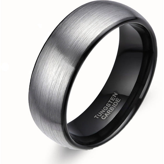 Fascinating Black Tungsten Engagement Ring - Brilliant Virtue