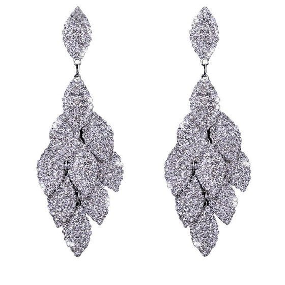Unique Crystal Studded Leaves Cluster Earring - Brilliant Virtue