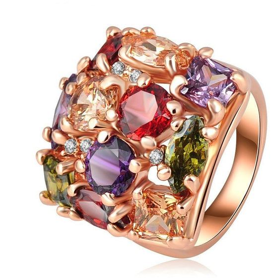 Magnificent Rose Gold Plated square Ring - Brilliant Virtue