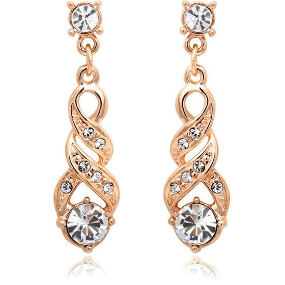 Alluring Rose Gold Dropping Earrings - Brilliant Virtue