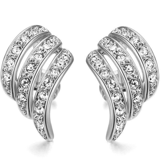 Angel's Wing Themed, White Gold Colored Stud Earrings - Brilliant Virtue