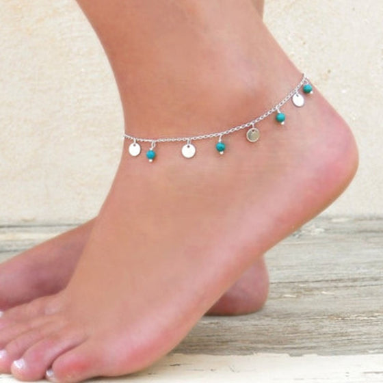 Sensational Silver Plated Blue Stone Anklet - Brilliant Virtue