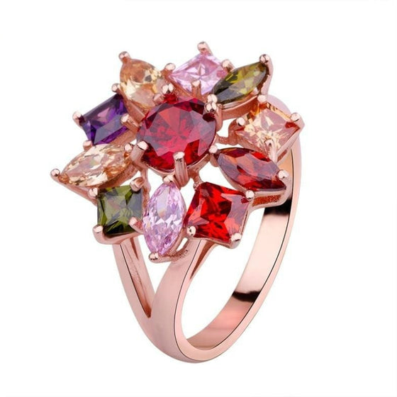 Radiant Multicolored Rose Gold Ring - Brilliant Virtue
