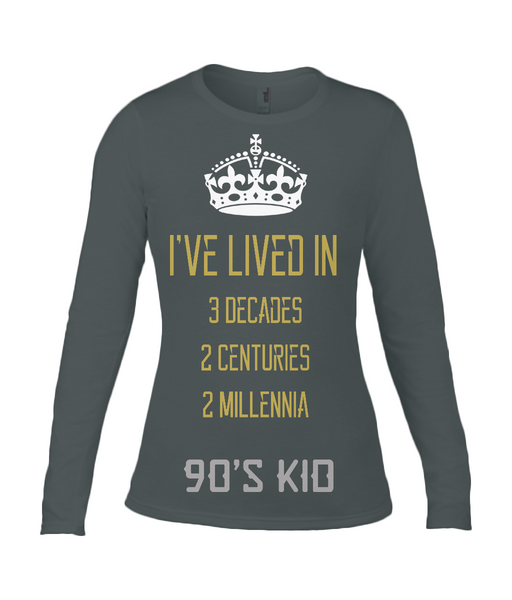90s Kid Anvil Ladies Long Sleeve Fitted T-Shirt - Royal Steampunk