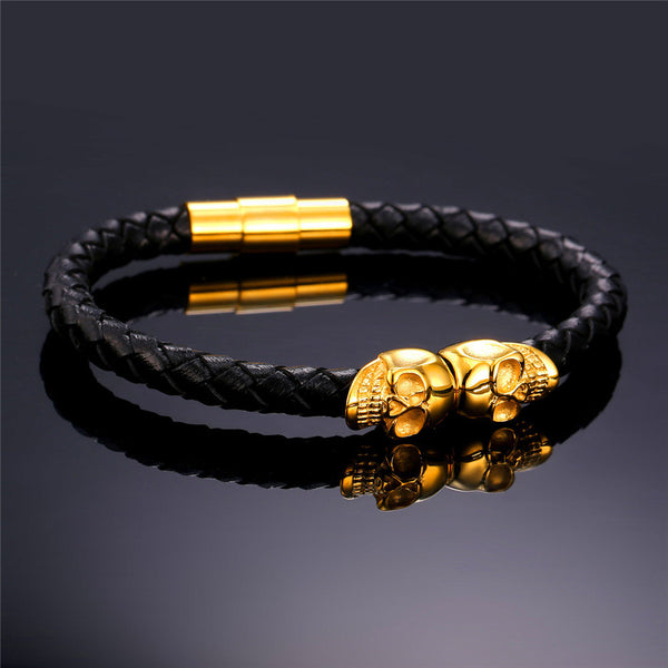 18K Gold Plated Leather Skull Bracelet - Royal Steampunk